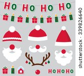 christmas santa hats and... | Shutterstock .eps vector #339826640