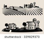 vector black farm and field on... | Shutterstock .eps vector #339829373