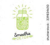 vector smoothie detox poster in ... | Shutterstock .eps vector #339834650