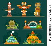 magic forest totems and... | Shutterstock .eps vector #339842774