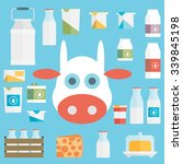 flat vector milk icon set