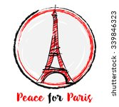 pray for paris with eiffel... | Shutterstock .eps vector #339846323