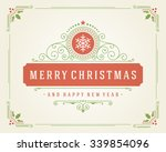 christmas retro typographic and ... | Shutterstock .eps vector #339854096