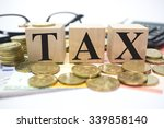 finance concept with stack of... | Shutterstock . vector #339858140