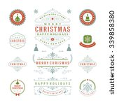 christmas labels and badges... | Shutterstock .eps vector #339858380