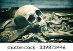 creepy human skull in an open... | Shutterstock . vector #339873446