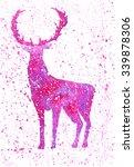 winter watercolor purple deer... | Shutterstock . vector #339878306