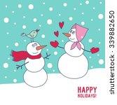 happy snowman print design | Shutterstock .eps vector #339882650