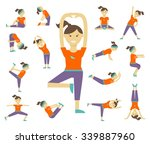 female yoga poses. girl and... | Shutterstock .eps vector #339887960