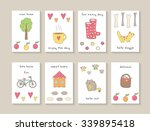 cute hand drawn doodle cards ... | Shutterstock .eps vector #339895418