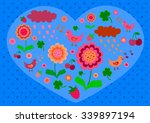 pink blue  valentine with... | Shutterstock .eps vector #339897194
