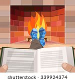 man with the book lies in front ... | Shutterstock .eps vector #339924374