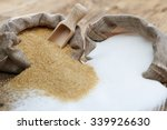 Small photo of Various types of sugar, brown sugar and white