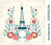 concept love card with eiffel... | Shutterstock .eps vector #339934196