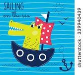 Sailing Crocodile On The Sea...