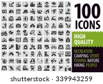 hiking set black icons. signs... | Shutterstock .eps vector #339943259