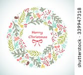 christmas vector floral wreath. ... | Shutterstock .eps vector #339947318