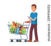 young man wish shop list... | Shutterstock .eps vector #339954353