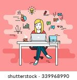 woman is working with laptop.... | Shutterstock .eps vector #339968990