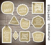 stickers on rustic wood... | Shutterstock .eps vector #339974018