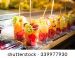 stand with fresh fruit mix ... | Shutterstock . vector #339977930