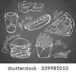 vector hand drawn set of retro... | Shutterstock .eps vector #339985010