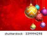 christmas ornaments with red... | Shutterstock . vector #339994298