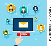 running email campaign  email... | Shutterstock .eps vector #340002689