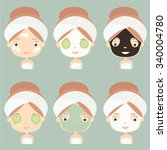 spa. cute girl faces with... | Shutterstock .eps vector #340004780