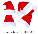 santa hat isolated on white... | Shutterstock . vector #340007528