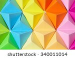 rainbow colors origami pyramids ... | Shutterstock . vector #340011014
