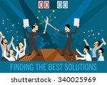 business team defend their... | Shutterstock .eps vector #340025969