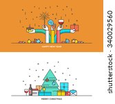 christmas and new year flat... | Shutterstock .eps vector #340029560