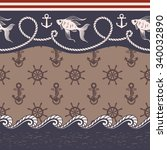 set of nautical borders and... | Shutterstock .eps vector #340032890