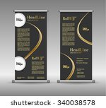 roll up banner abstract... | Shutterstock .eps vector #340038578