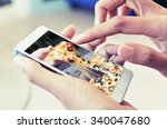 order pizza on line by smart...   Shutterstock . vector #340047680