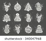 retro vintage minimal christmas ... | Shutterstock .eps vector #340047968