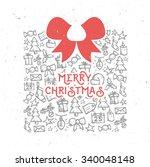 retro vintage merry christmas... | Shutterstock .eps vector #340048148