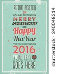 retro vintage merry christmas... | Shutterstock .eps vector #340048214