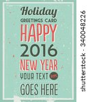 retro vintage happy new year... | Shutterstock .eps vector #340048226