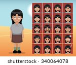 arab kid girl cartoon emotion... | Shutterstock .eps vector #340064078