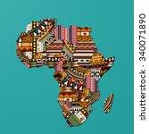 textured vector map of africa | Shutterstock .eps vector #340071890