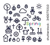 set of icons spring