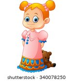 little girl with her doll | Shutterstock .eps vector #340078250