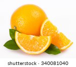 fresh orange isolated on white... | Shutterstock . vector #340081040