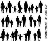 black silhouettes family on... | Shutterstock . vector #340081169