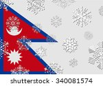 nepal flag with snowflakes | Shutterstock .eps vector #340081574
