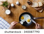 healthy breakfast with fried... | Shutterstock . vector #340087790