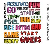 video games related words doodle | Shutterstock .eps vector #340087820