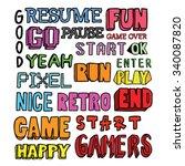 video games related words doodle | Shutterstock .eps vector #340087820